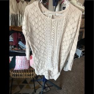 H and m  cable knit cream sweater